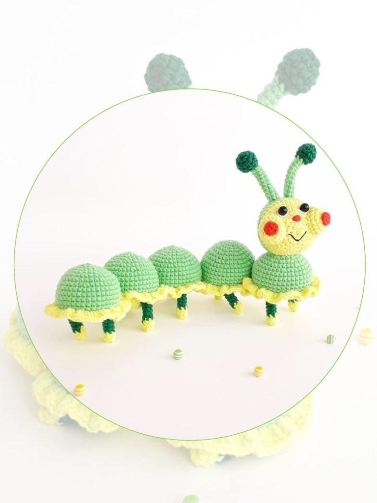 Вязаная игрушка крючком схема и описание: гусеничка Лапа
