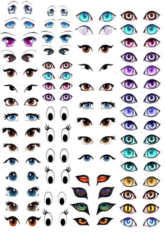 Шаблоны для рисования глаз кукле