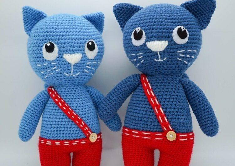 Синий кот из рекламы вязаный крючком