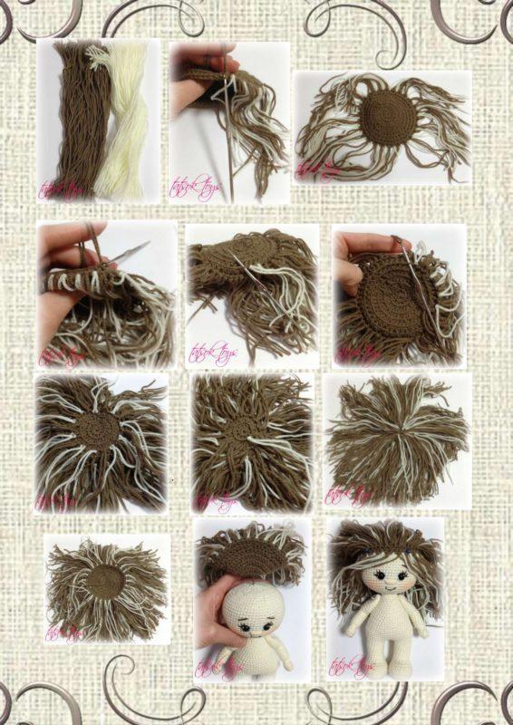 Вязаный парик крючком для куклы шаг 2