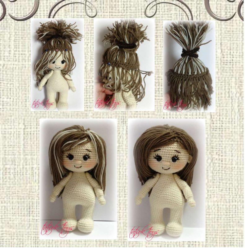 Вязаный парик крючком для куклы шаг 3