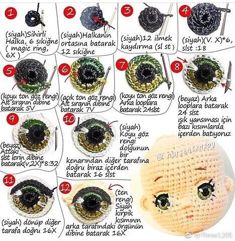 Схема вязания красивых глаз для куклы