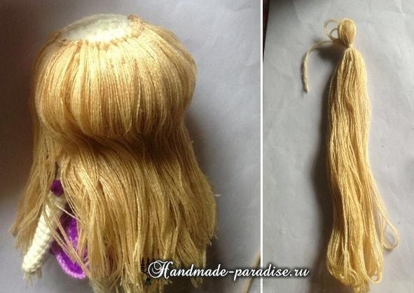 Мастер - класс по созданию волос для куклы шаг 3