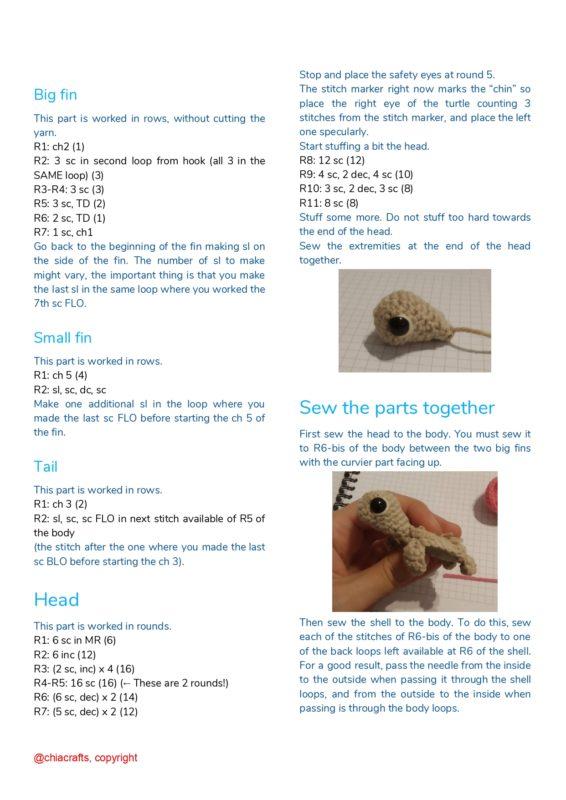 Схема вязания головы черепашки
