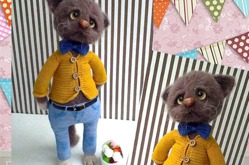 Схема вязания кота из мохера крючком