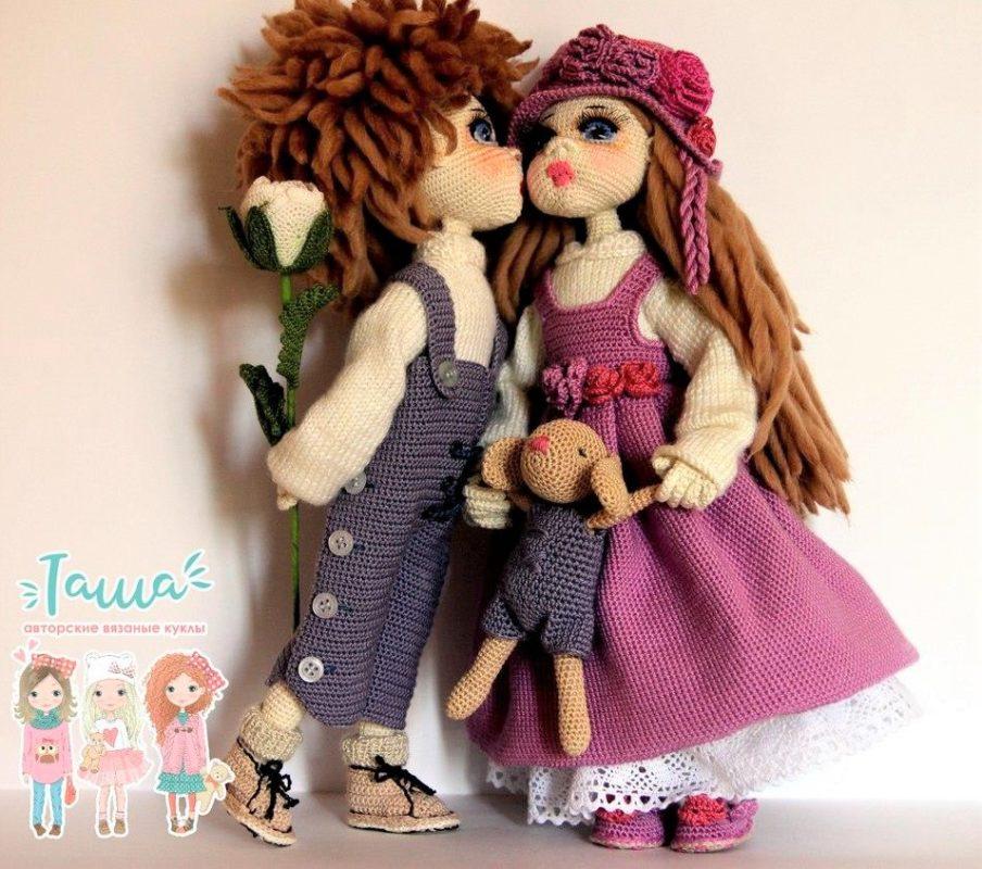 Куклы неразлучники крючком пошаговый МК по вязанию
