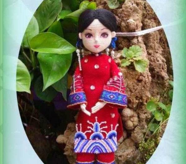 Схема вязания куклы принцессы крючком+МК для наряда