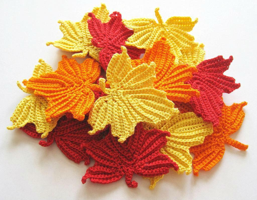 Простая схема вязания осенних листьев с описанием