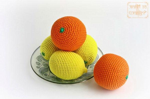 Амигуруми цитрусовые фрукты апельсин и лимон