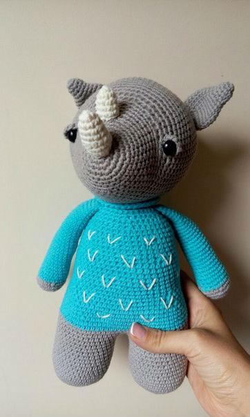 Схема вязания носорога крючком с описанием работы