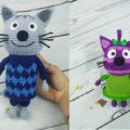 Три кота крючком схема вязания Нудика и Горчицы