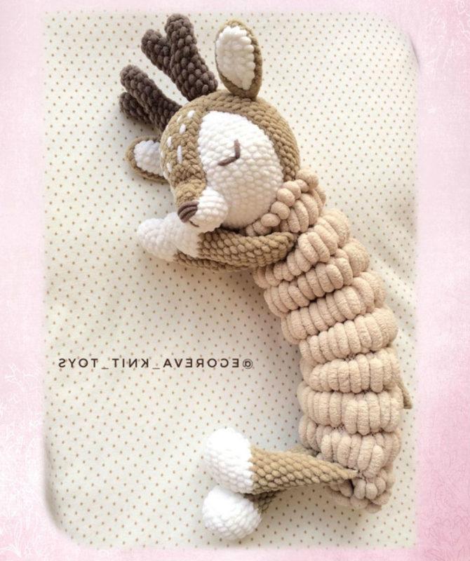 Вяжем пижамницу в виде олененка крючком из плюшевой пряжи