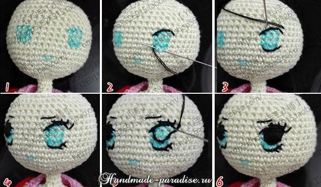 Схема вышивания глаз для вязаной куклы