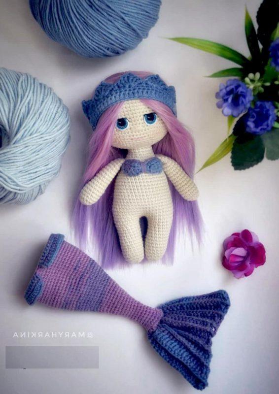 Амигуруми кукла русалка крючком схема вязания куклы и хвоста