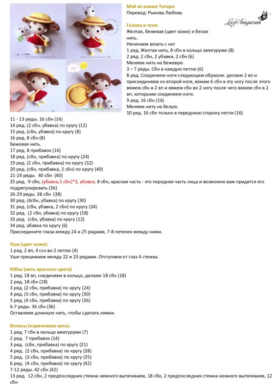 Схема головы и тела куклы