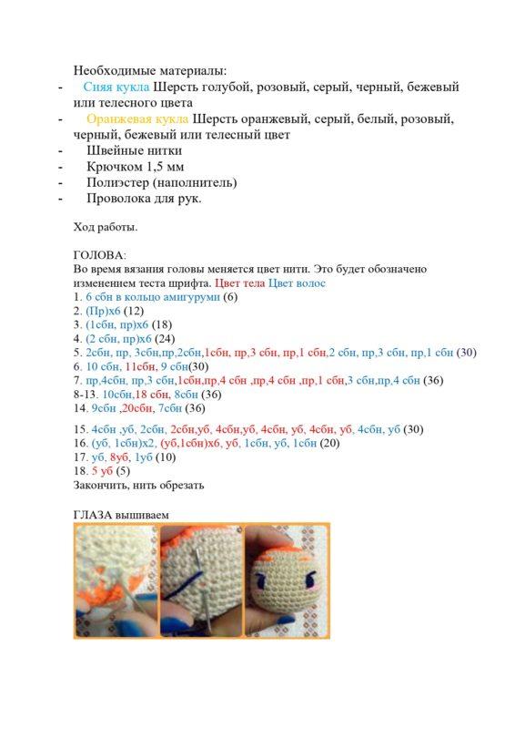 Схема вязания аниме вокалоида Мику Хатсуне крючком с переводом