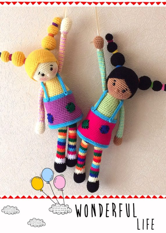 Вязаная цветная кукла схема вязания крючком с описанием
