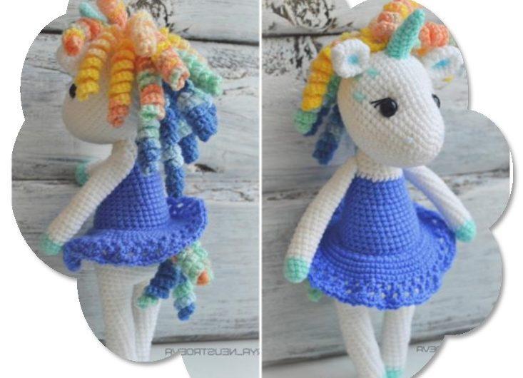 Кукла единорог в платье вязаная крючком