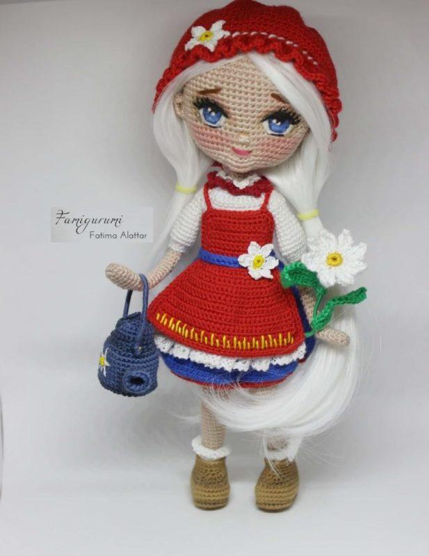 Вязаная кукла красная шапочка крючком с пошаговым описанием МК