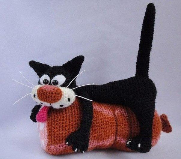 Схема вязания кота с колбасой крючком и описанием