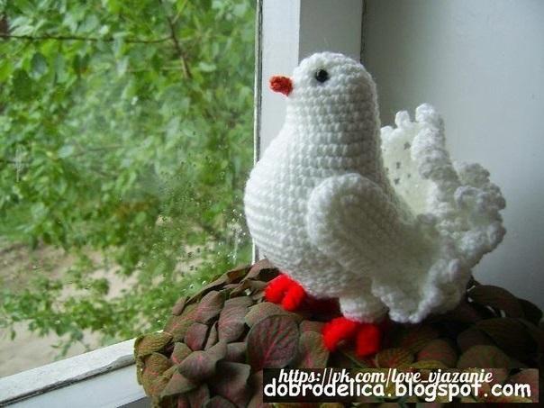 Вязаный крючком белый голубь