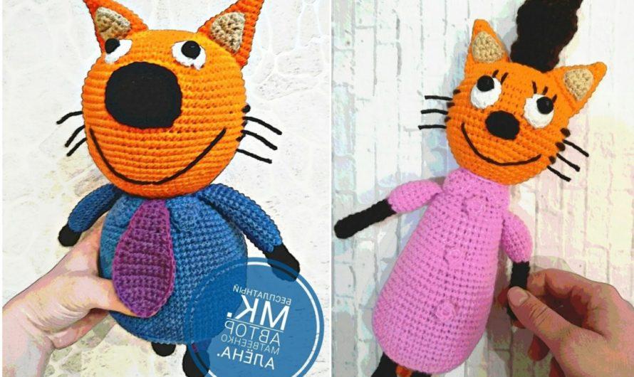 Вязаные родители трёх котят из мультфильма «Три кота»