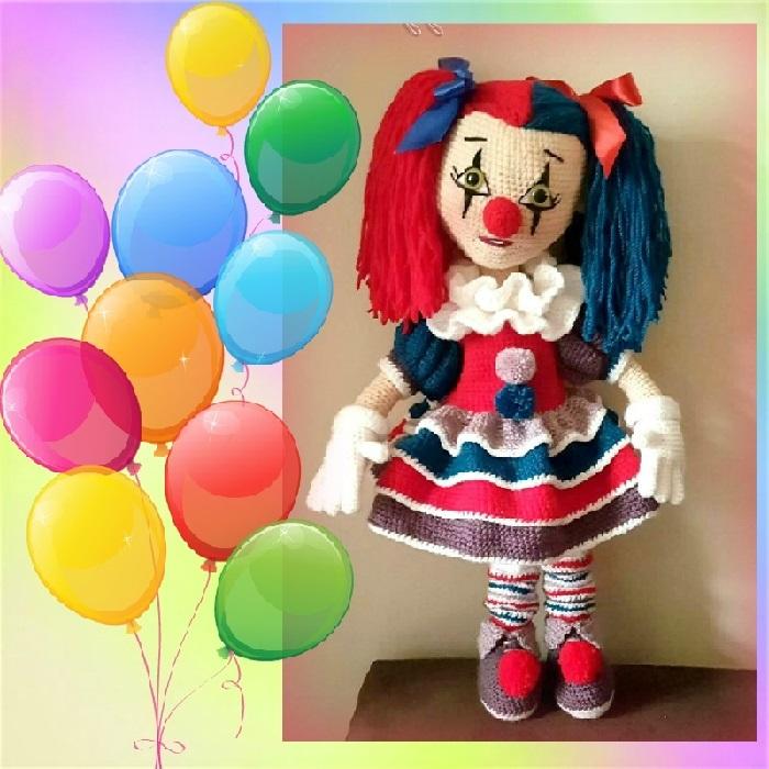 Вязаная кукла клоун крючком с полным переводом схемы вязания