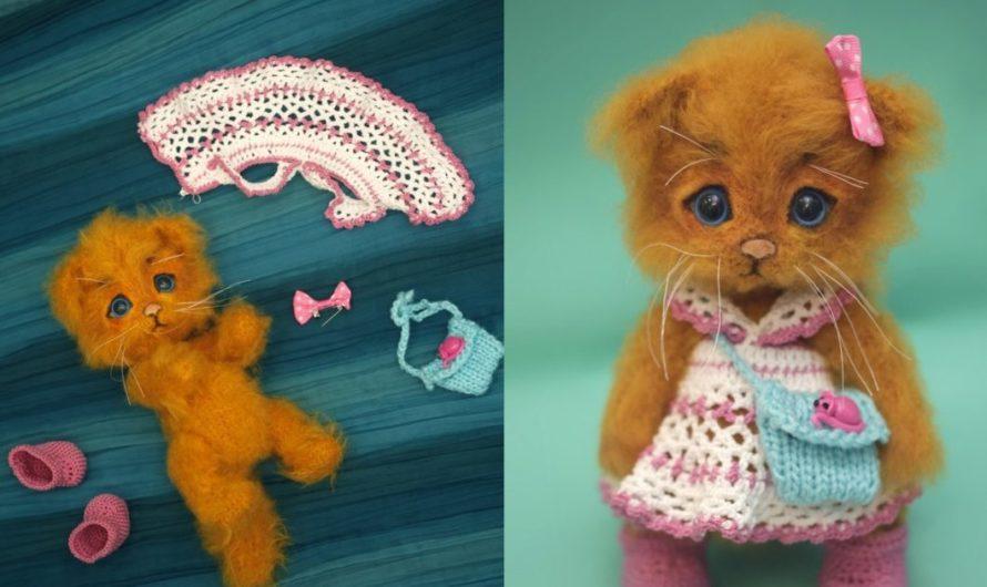 Вязаный котенок из мохера с описанием схемы вязания
