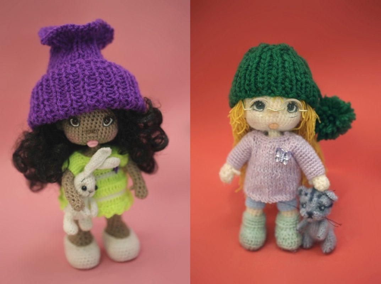 Амигуруми кукла Дина крючком бесплатная схема вязания