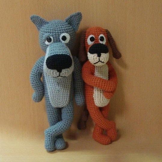 Амигуруми волк и пес крючком с пошаговым описанием схемы вязания