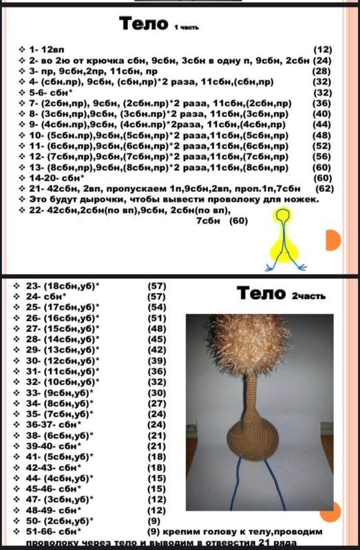 Полная схема вязания страуса крючком с пошаговым описанием