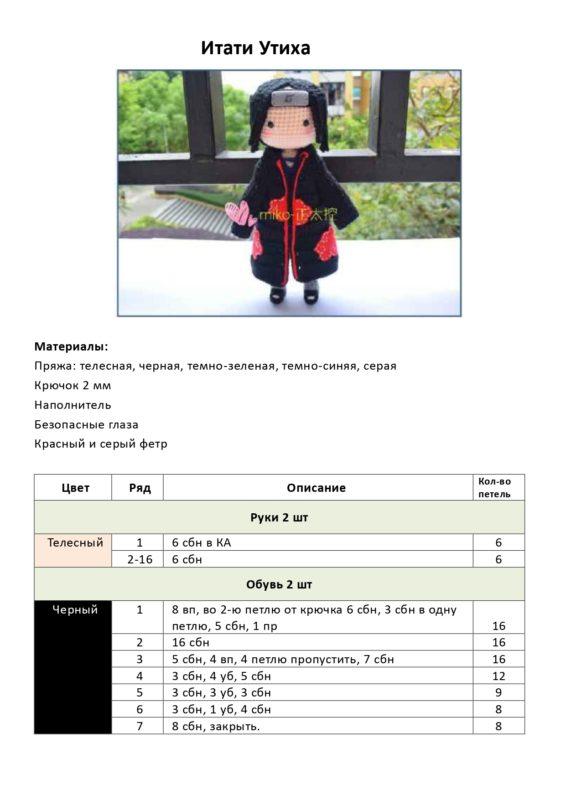 Пошаговая схема вязания Итати Утиха из аниме