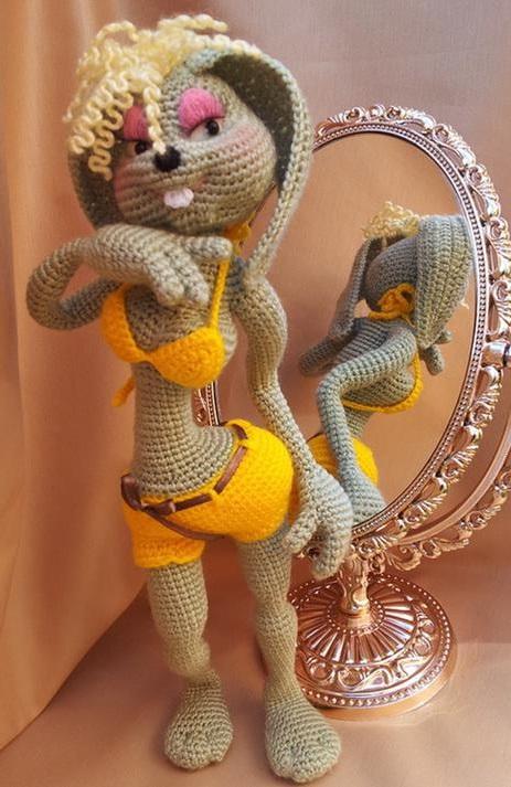 Амигуруми гламурная зайка крючком пошаговый МК по вязанию