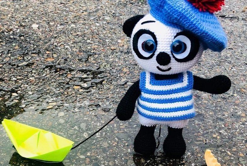 Амигуруми панда морячок крючком