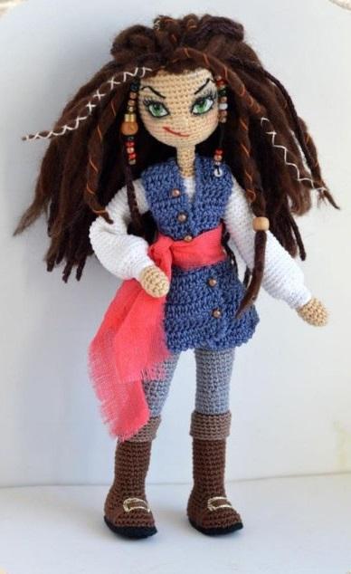 Амигуруми схема куклы пиратки Джеммы пошаговый МК по вязанию