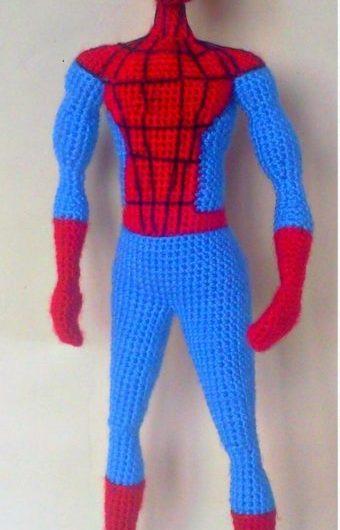 Простая схема вязания человека-паука крючком