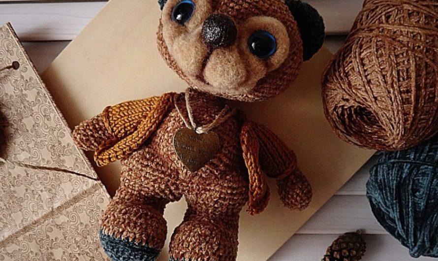 Схема вязания медведя крючком из велюровой пряжи