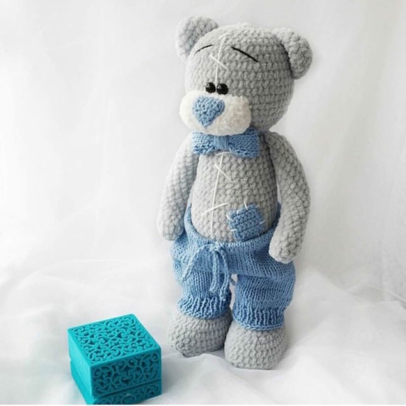 Простая схема вязания медведя из плюшевой пряжи с описанием