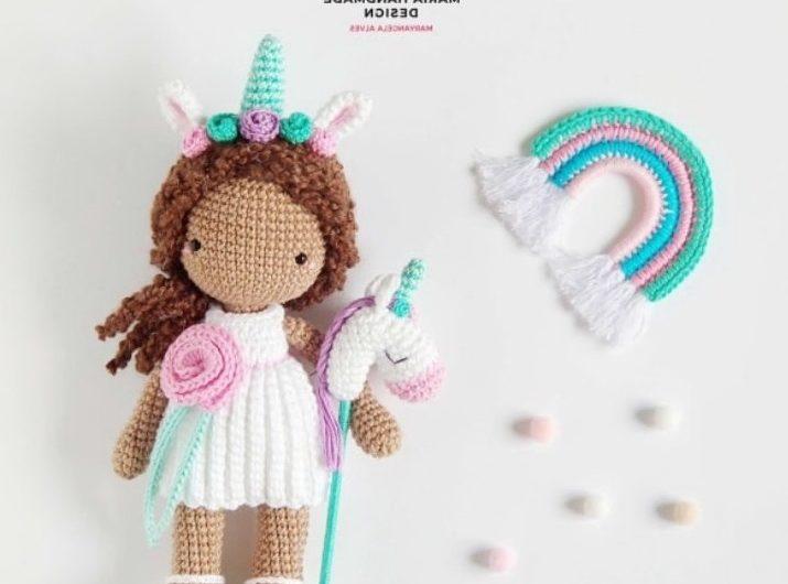 Схема вязания маленькой куклы единорога крючком с описанием