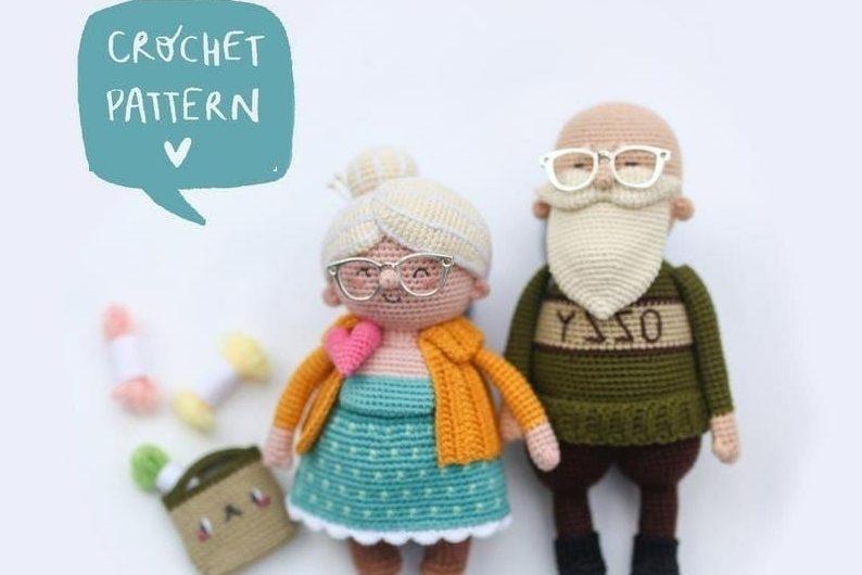 Вязаные крючком бабушка и дедушка: схема без перевода