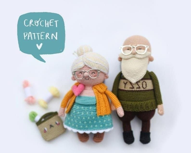Вязаный крючком дедушка и бабушка с пошаговой схемой вязания