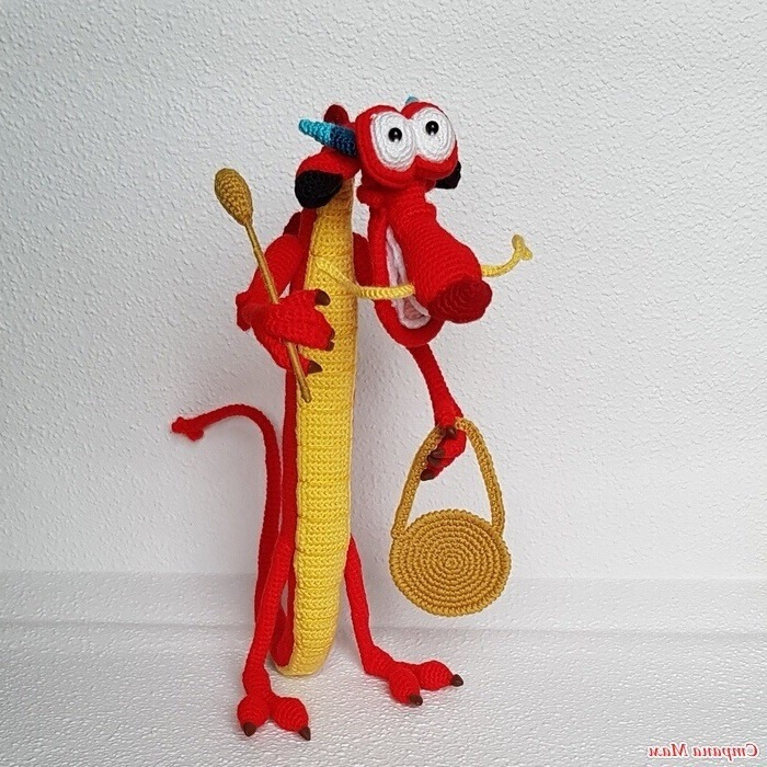 Вязаный крючком дракон Мушу с пошаговой схемой вязания - Умелки