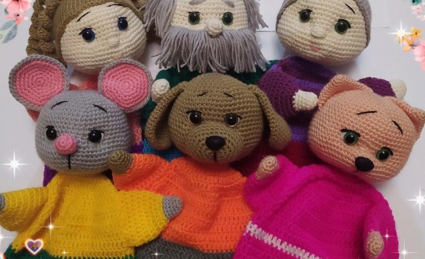 Вязаные перчаточные куклы Репка