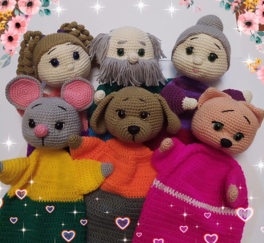 Вязаный крючком кукольный театр Репка: игрушки на руку
