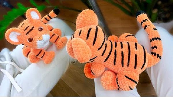 Амигуруми плюшевый тигр крючком